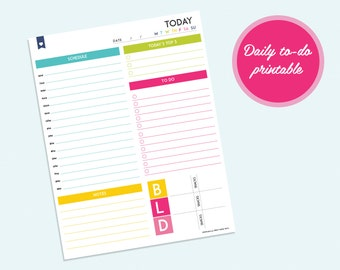 Daily Planner Printable - Instant Download - Day Planner PDF