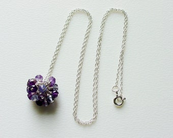 Purple Gemstone Cluster on Fine Sterling Silver Rope Chain / Amethyst / Iolite / Tanzanite / Wisteria / Lilac / Gemstones / Gem Cluster