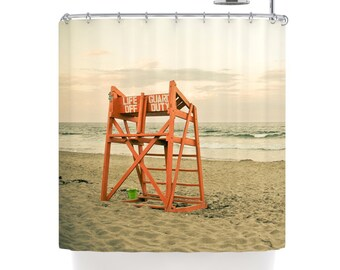Shower Curtain, Beach Shower Curtain, Life Guard Stand, Ocean Shower Curtain,  Nautical Beach Decor Curtain, Bathroom Decor For the Bath
