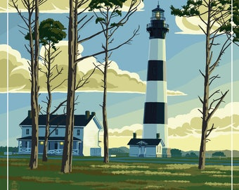 Outer Banks, North Carolina - Bodie Island Lighthouse - Lantern Press Artwork (Art Print - Multiple Sizes Available)