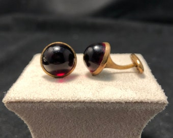Vintage Dark Red Cabochon Plastic Cuff Links