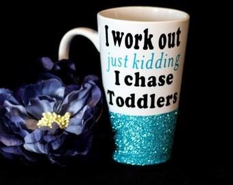I Workout Coffee Mug | Funny Coffee Mug | Gift for Mom | Mom Life | Glittery Mug | Latte Mug | Coffee Cup | Personalized Mug | New Mom Mug