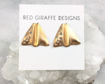 Red Brass Earrings | Vintage Studs | Geometric | Paper Plane Studs | Surgical Steel Posts