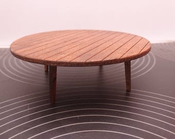 IKEA inspired miniature dollhouse modern oak round low table, 1/12 scale