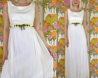 vintage 1970s empire waist boho wedding dress, 1960s 70s wedding gown, white sleeveless maxi dress, bohemian 60s formal dress, prom dress