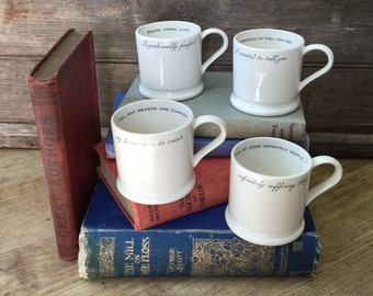 Literary Quote Mugs. Espresso Mug. Literary Gifts. William Blake, Philip Larkin, T S Eliot, Raymond Carver Author Mugs. Gifts Under 20.