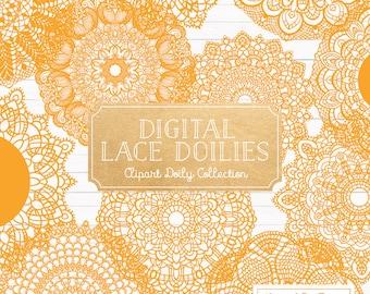 Premium Large Sunshine Lace Doily Vectors - Doily Clipart Images, Digital Vector Doilies, Sunshine Clipart Doily