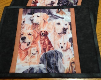 Quilted Dogs Mug Rugs, set of two mug rugs, quilted placemats,  dog mug rugs in Black and Tan, candle mats