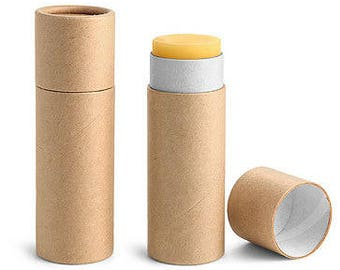 100 NEW,EMPTY Lip Balm containers,paperboard,cardboard,compostable,High Quality,Kraft,Lipbalm tubes,chapstick,Tubes with lids,with caps