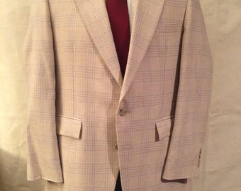 1970s Combo Suit - Disco Suit - Matched Jacket and Slacks - Patriotic Blazer - Blue Pants - Red Tie - Hipster - Casual - Medium 42R