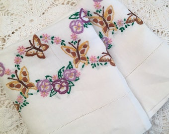 Linen Butterfly Pillowcases - Hand Embroidery with Hemstitching on Linen Cases - Butterfly and Flower Garland - Pillowcases - Standard Queen