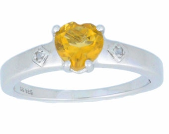1 Ct Citrine & Diamond Heart Ring .925 Sterling Silver Rhodium Finish
