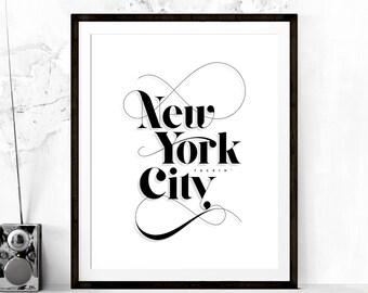 New York (F'n) City Typography Print, New York City Poster, NYC Art, Travel Poster, Typography Poster, NYC Poster, New York, Printable Art