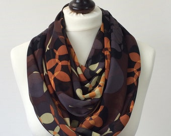Fall Scarf, Printed Scarf, Leaves Foulard, Chiffon Loop Scarf, Boho Circle Scarf, Infinity Scarf, Women's Scarf, Mother's Day Gift