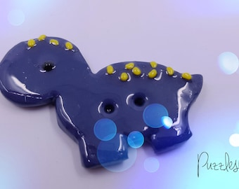 Blue Bronto Dino//Handmade button made of Fimo//decorative button for sewing