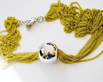 Silver ball - multiple chains - mustard yellow necklace