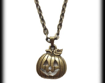 Pumpkin Charm Necklace, Gothic Bronze Pumpkin Pendant, Alternative Jewelry, Handmade Necklace, Halloween Jewelry, Gothic Jewelry
