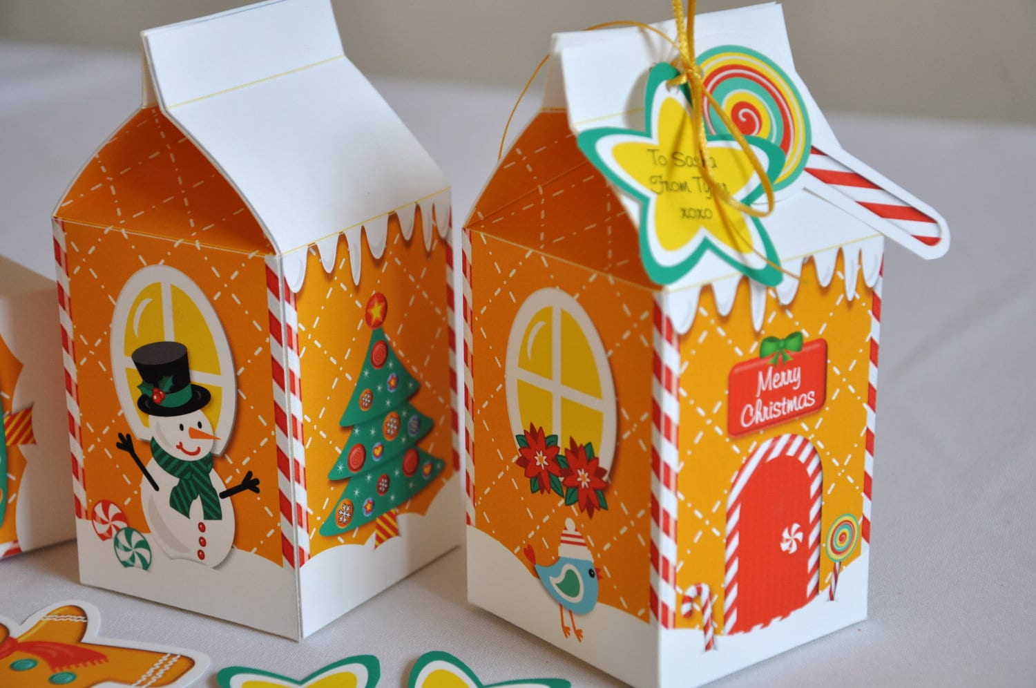 Christmas holiday gingerbread house milk carton favor treat for Christmas crafts with milk cartons