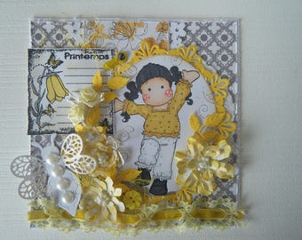 Spring card! glitter and floral with a little girl!