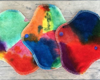 "THREE PantyWraps Reusable Cloth Pad - hand painted bamboo velour Reusable Cloth Pad - ""Elsa's abstracts"""