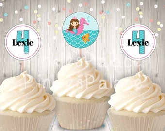 Mermaid Cupcake Picks Birthday Food Picks Girls Birthday Skewers Set of 12 CT053
