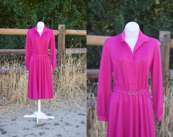 1980s Magenta Dress // 80s Shirtwaist Dress // Vintage Pink Dress by Sunshine Alley