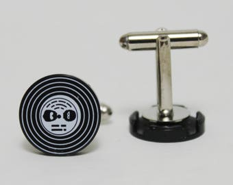Made from Lego (r) 2x2 Record Tile Cufflinks   80s retro gifts for dad music mens accessories womens fashion wedding groomsmen
