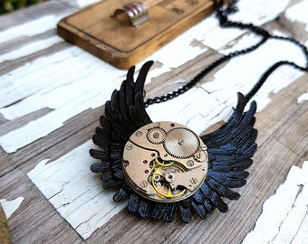 Angel Wings Necklace Steampunk Pendant Black Jewelry Watch Part Necklaces Great Gifts for Lovin Gothic Accessories Girls Cosplay Fashion