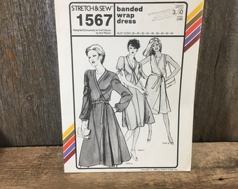 Vintage Stretch and Sew Ann Person pattern 1567, ann person, banded wrap dress, 1980's sewing pattern, wrap dress pattern,  retro sewing