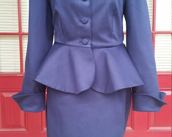 Retro Style Suit- Ladies Suit- Skirt-Jacket- Made-to-Measure - Custom Made~You Choose The Fabric
