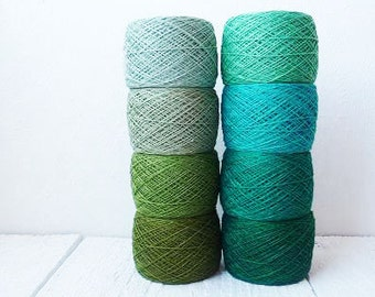 green Crochet Thread collection - high quality 100% Linen Thread, crochet yarn, yarn for crochet