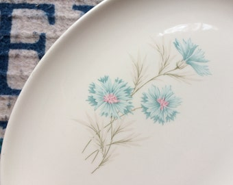 1950 Vintage Taylor Smith Taylor Boutonniere Ever Yours Platter Farmhouse Decor Kitchen Blue Pink Carnation Flower Mother's Day Wedding Gift