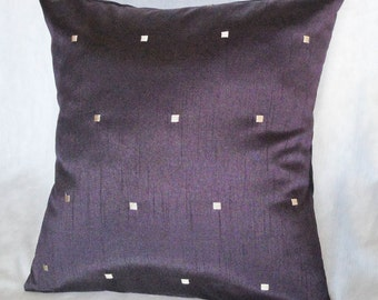 """Purple Pillow cover with gold squares, elegant home decor, 18 inches, 16"""", 14"""""""