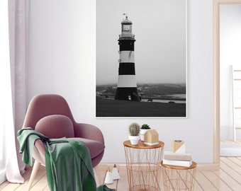 Plymouth Photography, Smeatons Tower Wall Art, Black and White Wall Decor, Lighthouse Prints, Plymouth Pictures, Plymouth Gifts