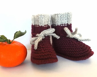 DAPHNE - wool slippers - knitting - sizes 0-6 months or 6-12 months / wool baby booties - hand knitted / 0-6 months or 6-12 months sizes