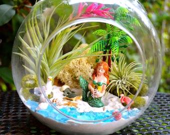 """Mermaid Beach Terrarium Kit ~ 7"""" Air Plant Terrarium Kit ~ Coastal Living Beach Decor ~ Mermaid on a Rock  ~ Sea Turtles ~ Flamingo ~ Gift"""