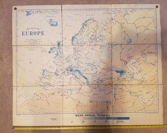 Vintage Bacon's Europe Mean Rainfall school/wall map