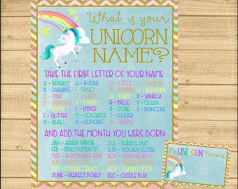 "Unicorn Name Poster, ""What's Your Unicorn Name"" Sign, Unicorn Party Game, Unicorn Party, INSTANT DOWNLOAD"