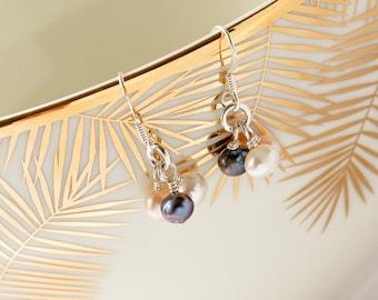 Pearl Drop Earrings, Silver Pearl Earrings, Pearl Earring Trio, Elegant Pearl Earrings, Everyday Pearl Earrings, Pearl Jewelry, Black Pearls