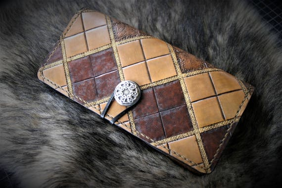 Outlander wallet, genuine leather, checkbook, tartan frame tooled, luxury leather good