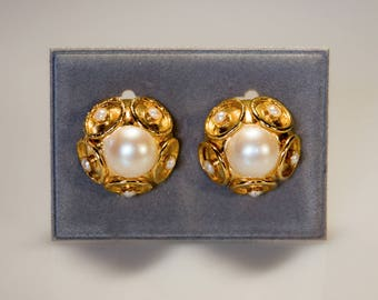 60s vintage earrings-extravagant futuristic design, gilded brass with pearl-coloured pearls. Abstract Modernist