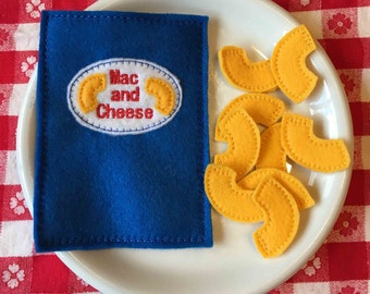 Felt Food Macaroni and Cheese Package Bag of Mac and Cheese Dinner Pretend Food