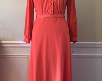Vintage Coral polyester long sleeve butterfly collar maxi dress, 70's dress, womens maxi, Medium dress, butterfly collar,longsleeve dress