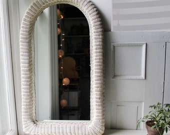 """Large Wicker Framed Wall Mirror - Arched White Woven Mirror 37"""" x 21"""""""
