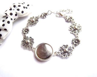 x bracelet silver cabochon 18 mm stylized flower and small flower holder