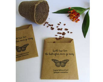 Wedding Favor Wildflower Seeds, Milkweed Flower Seed Favors, Butterfly Guest Favors / Set of 10 Milkweed Seed Packs / Wedding Favors (OTM01)
