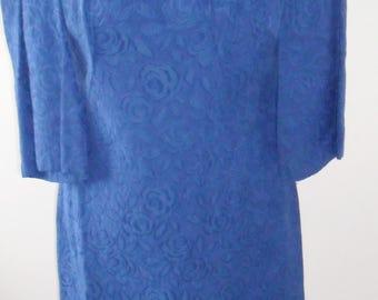 1960s vintage cobalt blue maxi dress - LARGE