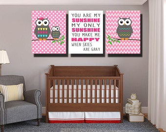 You are my sunshine Wall Art, Baby girl Owl Nursery Decor, Pink and grey nursery decor, Owl nursery, baby girl nursery art, Nursery 3 8*10