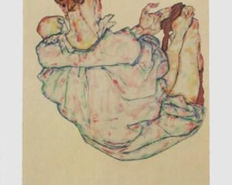 "Schiele Egon, 57, Lithograph, ""Sitting woman,  printed 1968"