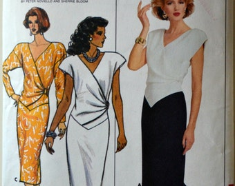 1980s Butterick Vintage Sewing Pattern 3852, Size 8; Misses' Dress